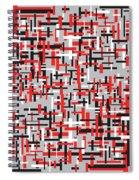 Red Black White Geometric Spiral Notebook