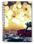 Red Car With Christmas Tree Driving Through Snow Spiral Notebook