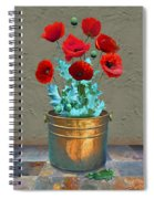 Red Patio Poppies Spiral Notebook