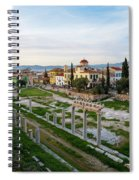 Remains Of The Roman Agora And Cityscape Of  Athens, Greece Spiral Notebook