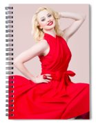 Retro Blond Pinup Woman Wearing A Red Dress Spiral Notebook