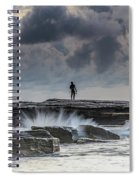 Rock Ledge, Spear Fishermen And Cloudy Seascape Spiral Notebook