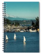 Sailboats At Gig Harbor Marina With Mount Rainier In The Background Spiral Notebook