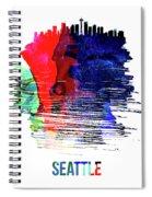 Seattle Skyline Brush Stroke Watercolor   Spiral Notebook