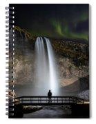 Seljalandsfoss Northern Lights Silhouette Spiral Notebook