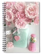Shabby Chic Pink Roses In Aqua Mason Jar Romantic Cottage Floral Print Home Decor Spiral Notebook