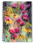 Shiny Rudbeckia And Thistle Spiral Notebook