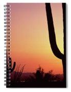 Silhouette Of Saguaro Cacti Carnegiea Spiral Notebook