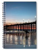 Silhouette Of Surfer At Huntington Spiral Notebook