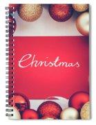 Silver Christmas Writing And Christmas Glass Balls. Spiral Notebook