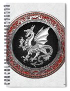 Silver Winged Norse Dragon - Icelandic Viking Landvaettir On Black And Silver Medallion Over White L Spiral Notebook