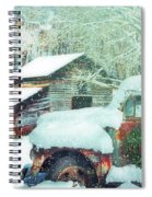 Softly Snowing On The Country Farm Spiral Notebook