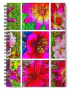 Stained Glass Pink Flower Collage  Spiral Notebook