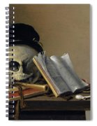 Still Life With Skull, Books, Flute And Pipe Spiral Notebook