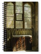 sunlight on linen fold altar in Trinity church York Spiral Notebook
