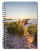 Sunset Over Dunes And Pier Spiral Notebook