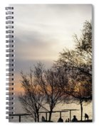 Sunset Scene Of Tree Branches And People Silhouettes Spiral Notebook