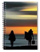 Surfer Girls Silhouette Spiral Notebook