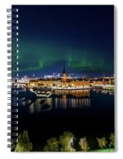 Swirly Aurora Over Stockholm And Gamla Stan Spiral Notebook