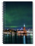 Swirly Aurora Over The Stockholm City Hall And Kungsholmen Spiral Notebook