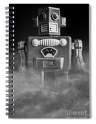 Take Me To Your Leader Vintage Tin Toy Robot Black And White Spiral Notebook