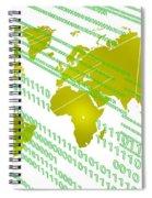 Tech Worldmap With Binary Code Spiral Notebook