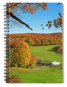 Tending To The Farm Woodstock Vermont Vt Vibrant Autumn Foliage Yellow And Orange Spiral Notebook