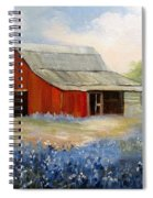 Texas Blue Bonnets And Red Barn Spiral Notebook