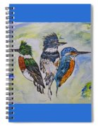 Three Kingfisher Birds - Painting By Ella Spiral Notebook