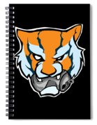 Tiger Head Bitting Beer Can Orange Spiral Notebook