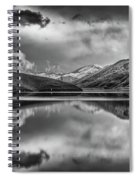 Topaz Lake Winter Reflection, Black And White Spiral Notebook