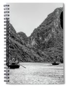 Touring Ha Long Bay Row Boats People Bw Spiral Notebook