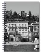 Town In The Shore Of Lake Como In Black And White Spiral Notebook