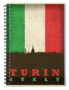 Turin Italy City Skyline Flag Spiral Notebook