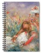 Two Children Seated Among Flowers, 1900 Spiral Notebook