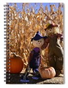 Two Cute Scarecrows With Pumpkins In The Dry Corn Field Spiral Notebook