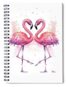 Two Flamingos In Love Watercolor Spiral Notebook