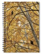 Two Owls In Autumn Tree Spiral Notebook
