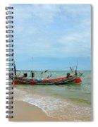 Two Thai Fishermen Take Equipment Onto Boat At Seaside Pattani Thailand Spiral Notebook