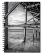 Uner The Pier In Black And White Spiral Notebook