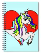 Unicorn In The Heart On Baby Blue Kids Room Decor Spiral Notebook