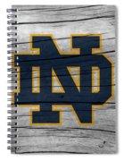 University Of Notre Dame Fighting Irish Logo On Rustic Wood Spiral Notebook