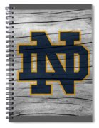 University Of Notre Dame Fighting Irish Logo On Rustic Wood Spiral Notebook