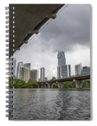 Urban Skyline Of Austin Buildings From Under Bridge With Stormy  Spiral Notebook