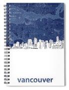 Vancouver Skyline Map Blue Spiral Notebook
