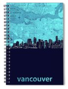 Vancouver Skyline Map Turquoise Spiral Notebook