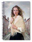Victorian Woman On A Cobbled Terraced Street Spiral Notebook