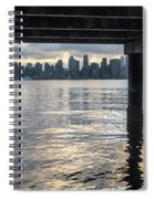 View Of Downtown Seattle At Sunset From Under A Pier Spiral Notebook