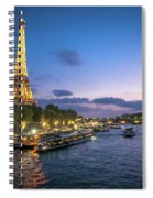 View Of The Eiffel Tower During Sunset From The Scene River Spiral Notebook