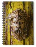 Viking Mask On Old Door Spiral Notebook